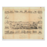 Sonora, CA. Panoramic Map 1854 (1647A) -Unrestored Posters
