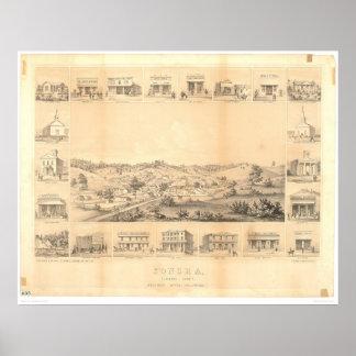 Sonora, mapa panorámico 1854 (1647A) del CA - Unre Póster