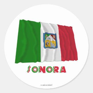 Sonora que agita la bandera oficiosa pegatina redonda