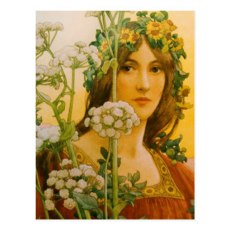 """Sonrel's """"Lady of the Cow"""" Classic painting Postcard"""