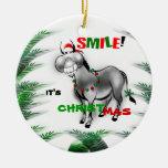 Sonríe su ornamento divertido del burro del navida adorno para reyes