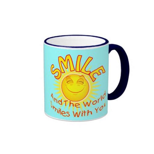 Sonríen y las sonrisas del mundo con usted (v2B) Taza A Dos Colores