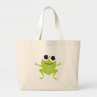 Sonriendo, saltando, la bolsa de asas de la rana v