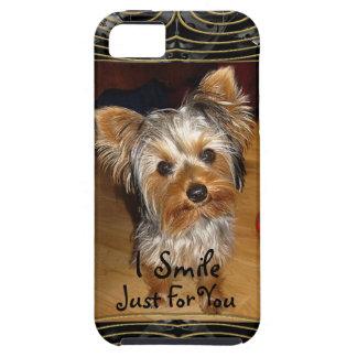 Sonrío apenas para usted Yorkie iPhone 5 Carcasas