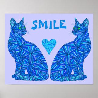 """SONRISA abstracta azul 20"""" del gato que se sienta Poster"""