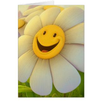 Sonrisa alegre de las flores felicitación