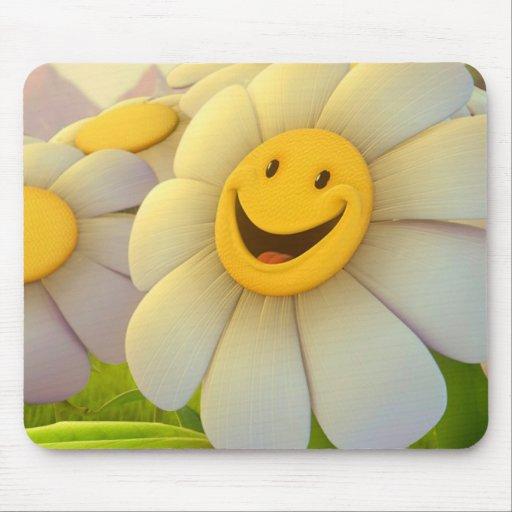 Sonrisa alegre de las flores mouse pads