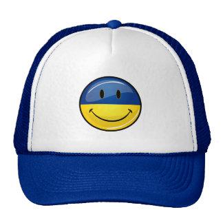 Sonrisa alrededor de bandera ucraniana gorros bordados