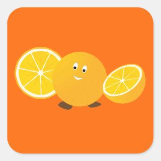 Sonrisa anaranjada entera con los naranjas pegatina cuadrada
