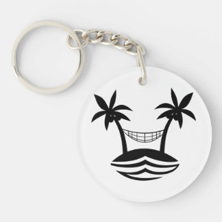 sonrisa blk.png de la playa de la hamaca de la llavero redondo acrílico a doble cara