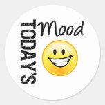 Sonrisa brillante del Emoticon de hoy del humor Pegatinas Redondas