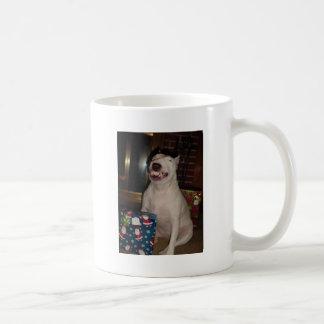 sonrisa bull terrier del navidad taza básica blanca