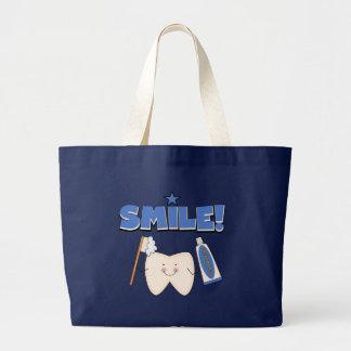 SONRISA - camisetas y regalos del diente Bolsa Tela Grande