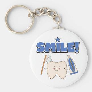 SONRISA - camisetas y regalos del diente Llavero Redondo Tipo Pin