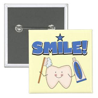 SONRISA - camisetas y regalos del diente Pin Cuadrado