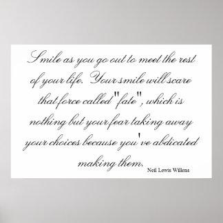 Sonrisa como usted hace frente al resto de su vida póster