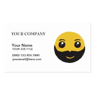 Sonrisa con la tarjeta de visita de la barba