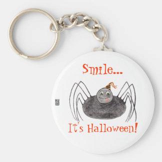¡Sonrisa de la araña del fiesta es Halloween! Llavero Redondo Tipo Pin
