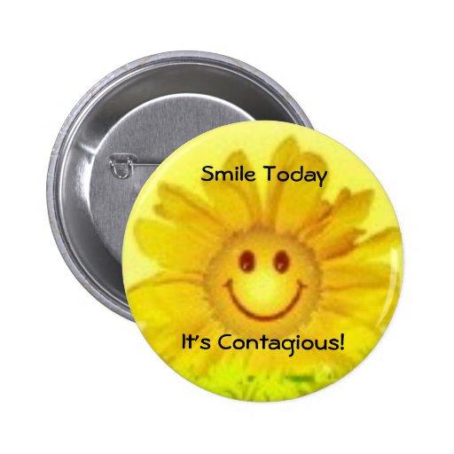 ¡sonrisa de la flor, sonrisa TodayIt contagioso! Pin Redondo 5 Cm