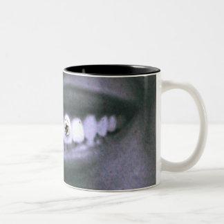 Sonrisa de la parrilla del tornillo taza de café de dos colores