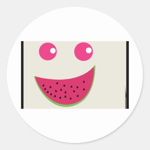 Sonrisa de la sandía pegatina redonda