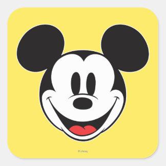Sonrisa de Mickey Mouse Pegatina Cuadrada