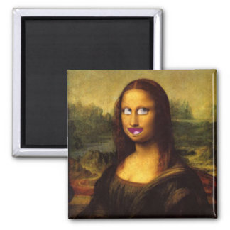 ¿Sonrisa de Mona Lisa? Imán Cuadrado