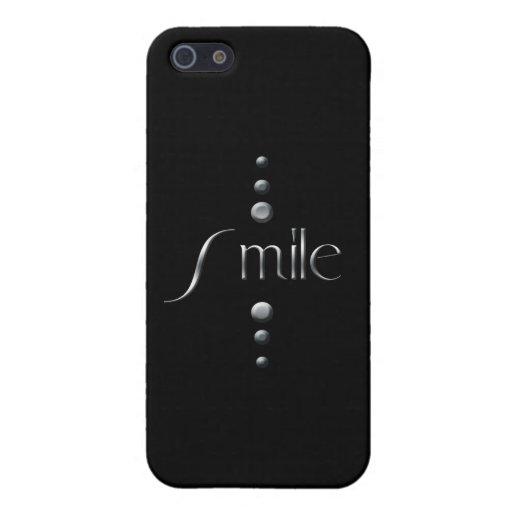 Sonrisa de plata del bloque de 3 puntos y fondo ne iPhone 5 cárcasa