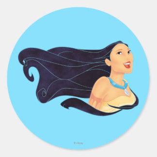 Sonrisa de Pocahontas Pegatina Redonda