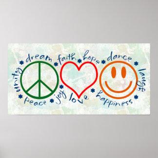 Sonrisa del amor de la paz póster