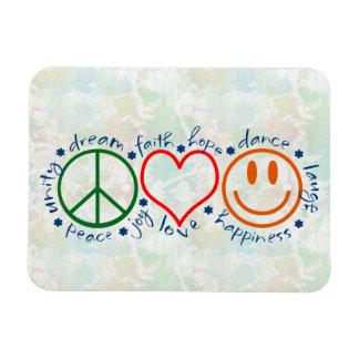 Sonrisa del amor de la paz rectangle magnet
