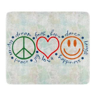 Sonrisa del amor de la paz tablas de cortar