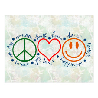 Sonrisa del amor de la paz postal
