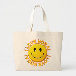 Sonrisa del amor de la yoga bolsa tela grande