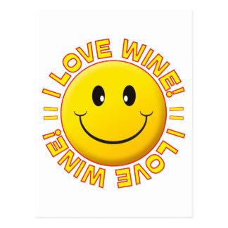 Sonrisa del amor del vino postal