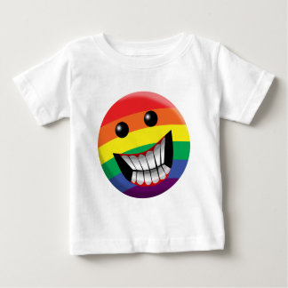Sonrisa del arco iris playera de bebé