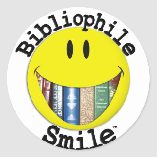 Sonrisa del bibliófilo pegatina redonda