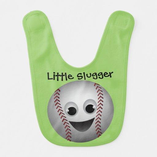 Sonrisa del carácter gráfico del béisbol baberos