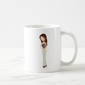 Sonrisa del chica taza de café