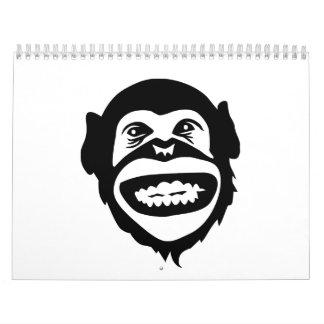 Sonrisa del chimpancé del mono calendario