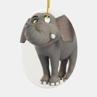 Sonrisa del elefante del bebé del dibujo animado ornamentos de reyes