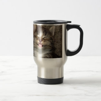 Sonrisa del gatito taza de viaje de acero inoxidable
