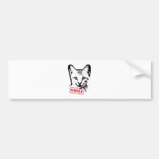 Sonrisa del gato etiqueta de parachoque
