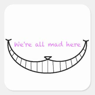 Sonrisa del gato de Cheshire Pegatina Cuadrada