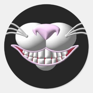 Sonrisa del gato de Cheshire Pegatina Redonda