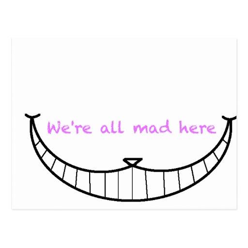 Sonrisa del gato de Cheshire Tarjetas Postales