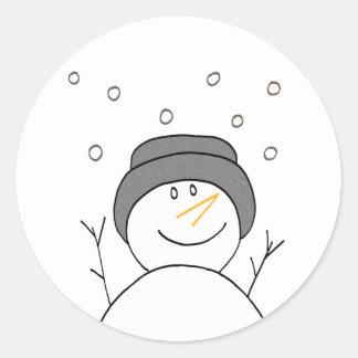 Sonrisa del muñeco de nieve pegatina redonda