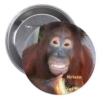 Sonrisa del orangután de Krista con el coco Pin Redondo De 3 Pulgadas