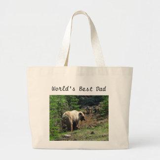 Sonrisa del oso grizzly; El día de padre feliz Bolsa Tela Grande