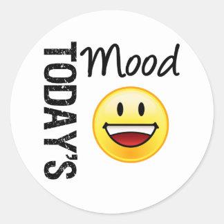 Sonrisa dentuda del Emoticon de hoy del humor Etiquetas Redondas